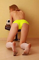 Angie In Bright Lime Hotpants - Picture 4