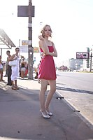 Red Dress Explorer Girl Goes Through The Beach And City - Picture 8
